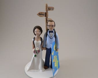 Bride & Groom Customized Travel Theme Wedding Cake Topper - reserved for hmyers89