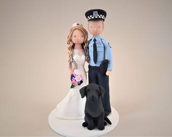 Police Officer & Nurse with a Black Lab Customized Wedding Cake Topper
