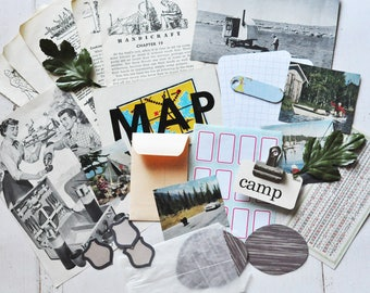Camping Journaling and Mixed Media Inspiration Pack - Inspiration Kit - Vintage Scrapbooking Ephemera - Junk Journal - Collage - Craft Kit