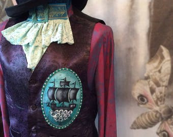 SALE Gothic vest victorian waistcoat gypsy sailor boho goth galleon pirate  size 38 chest coupon code RGCSALE