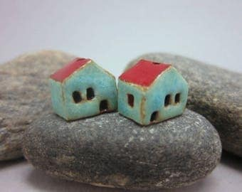 READY TO SHIP...Miniature Terracotta House Beads...Set of 2...Turquoise Green Walls/Red Roof