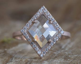 One of a Kind Natural Rose Cut Geometric Diamond Ring with Pavé Halo