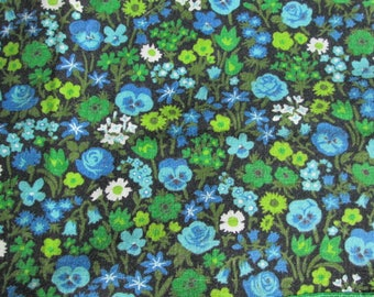 Fab Vintage Fabric Napkins Blue and Green Floral Print Roses Pansies Daisies Set of 6