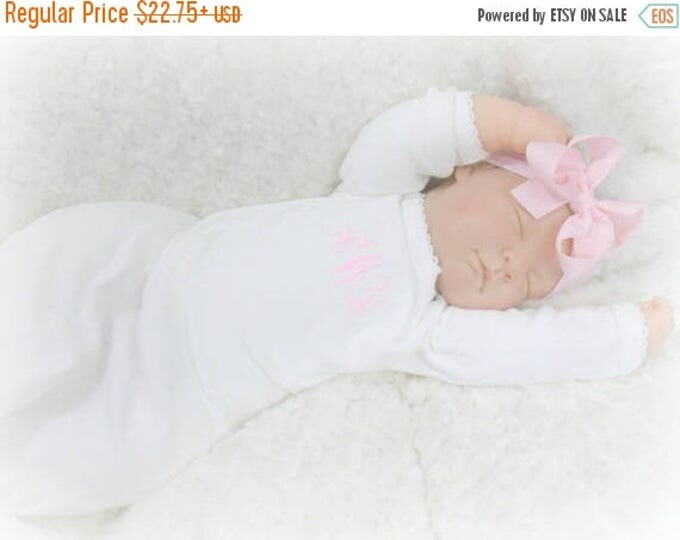 SALE Pink and White Personalized Coming Home Baby Gown for Girl, Pink Monogrammed Baby Girl Gown and Matching Pink Headband