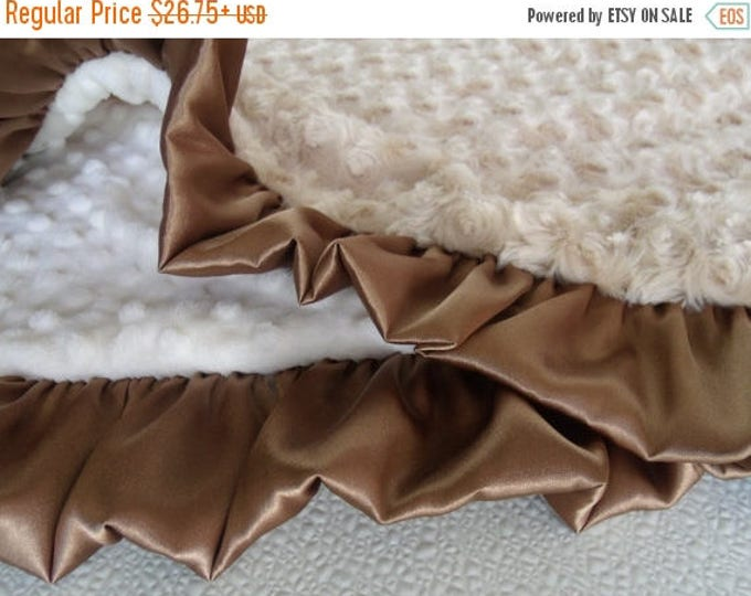 SALE Caramel Tan Rose Swirl and Cream Minky Dot Baby Blanket, 3 sizes Can Be Personalized