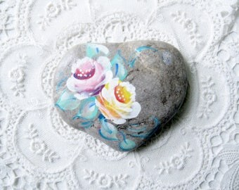 Painted Stone with Hearts, Shabby Beach Decor, Natural Decor, Beach House Decor,  Beach Decor,  Stone Paper Weight, by gardenstones on etsy