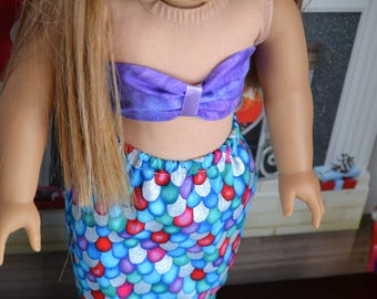 18 inch Doll Clothes - Mermaid Costume - Mermaid Tail - RAINBOW SCALES Purple top - Sparkly Pretty - fits American Girl