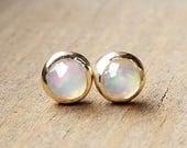 Bezel Set Rose Cut Opal Studs -  14k Yellow Gold White Opal Post Earrings - October Birthstone