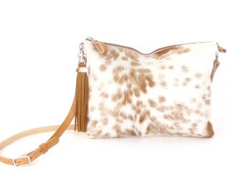 Brown and Ivory Hair on Hide Clutch ~ Brown Spotted Pony Hair Bag