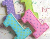 Reserved for vikauk-------Number One Cookies - First Birthday Cookies - Favors - Number Cookie favors - 1 Dozen