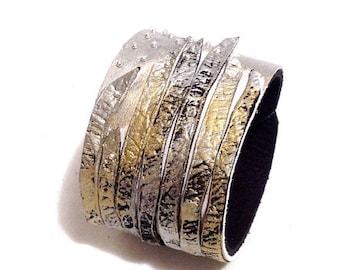 50% OFF SALE Metallic color leather cuff bracelet. Fashion bracelet. Leather jewelry