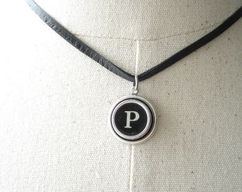 Typewriter Jewelry. Personalized Letter P Necklace. Typewriter Necklace. Vintage Typewriter Key Necklace. Initial Necklace. Upcycled Jewelry