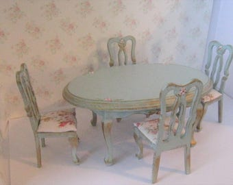 Dollhouse table, Oval dining table, four  chairs, duck egg blue table, roses, hand painted,  twelfth scale miniature