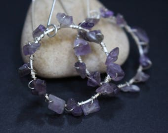 Wire Wrapped Amethyst Chip Hoop Earrings