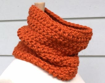 crochet scarf crochet cowl - Pumpkin orange hand crochet chunky cowl scarf - circle scarf - women's winter accessory - ready to ship