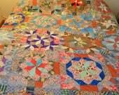 Vintage Handmade Patchwork Scrap Quilt Nice Condition Large Size
