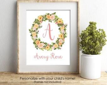 Personalized Nursery Print, Baby Girl Nursery Wall Decor, Custom Name Print, Personalized Gift, Nursery Art, Blush Pink Nursery Decor