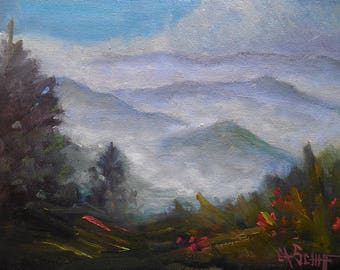 "Mountain Painting, Smoky Mountain Landscape, 6x8"" Oil Painting on Canvas Panel, Free Shipping, Original Art"