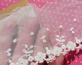 Antique Lace Vintage Lace Embroidered Tulle Lace Yardage