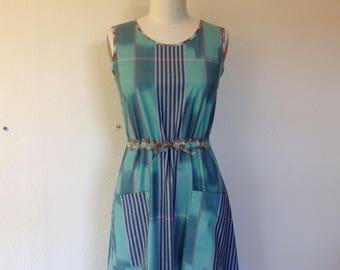 Judith Cotton sun dress- green ikat- X Small