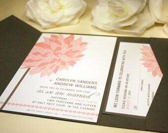 Dahlia Wedding Invitation, Pink Flower, Floral