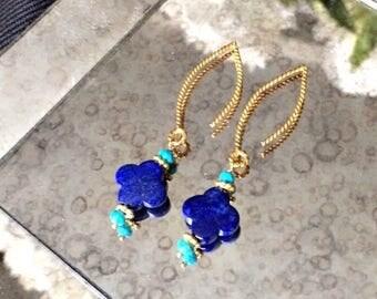 FLASH SALE Blue Lapis Dangle Earrings Gold Vermeil Turquoise Long Blue Earrings, Royal Blue Turquoise Earrings Blue Lapis Quatrefoil Clover