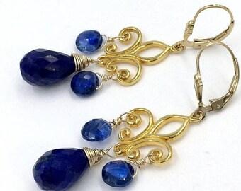 FLASH SALE Blue Lapis Earring Gold Chandelier Earrings, Gold Fleur de Lis, Wire Wrap Blue Kyanite Earrings Blue Gemstone Bohemian Luxe Earri