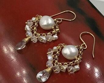 SUMMER SALE Moonstone Chandelier Earring Pearl Chandelier Earring Petite Gemstone Chandelier White Topaz Earrings 14kt Gold Fill Sterling Si