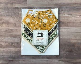 Bohemian Floral Bandana Bib Set - Yellow Green Blue - Girl - Baby Bib Set - Gift Set - Shower Gift - New Baby