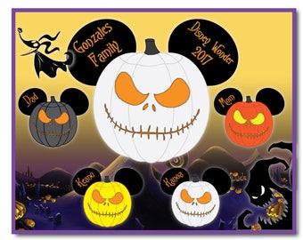 Handmade Disney Inspired 8 x 10 Nightmare Jack Skellington Mouse Head Family Magnet for Disney Cruise