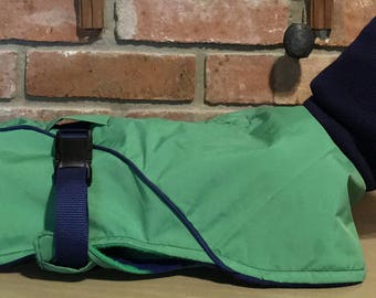 "FREE US SHIPPING Kelly Green Ripstop Dog Coat w/fleece lining. Size 16""  (00060) Italian Greyhound, Min Pin, Chinese Crested, Terrier"