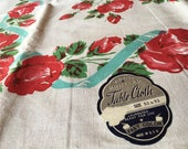 Lovely 1940's or 1950's Cotton Floral Tablecloth Featuring Red Roses and Aqua Ribbons, Unused with Original Paper Label!