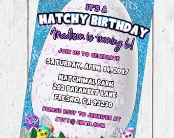 Digital Hatchimal Birthday Party Invitation. Hatchimals Birthday Invitation. Hatchimal Party Supplies. Hatchimal Invitation.