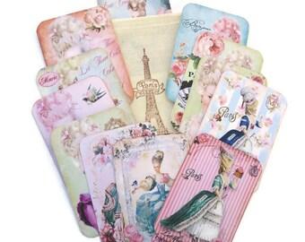 Marie Antoinette-Scrapbook Paris- Embellishment Tags-Scrapset-Stamped Muslin Bag-Destash French Vintage-Let Them Eat Cake-Journalling Tags