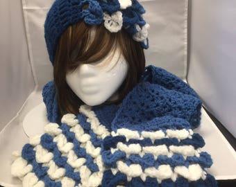 Blue Headband/Crocodile Stitch Scarf Set