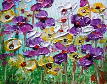 Purple Floral Oil Painting on Canvas Mini Painting Flowers Art by Luiza Vizoli