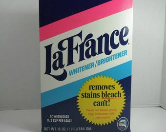 Vintage LaFrance Whitener Brightener Full Box Stain Remover 1970s Purex Laundry Room Decor NOS Vintage Kitsch Movie Prop Soap Bleach Box