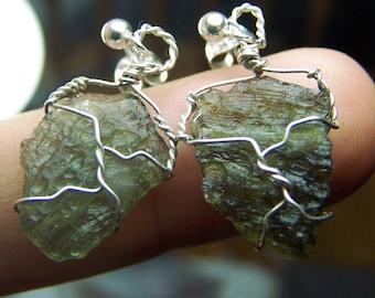 Moldavite earrings - Sterling SIlver post wire wrap small natural green crystal czechslovakia czech tektite meteorite specimen - pair ipe4