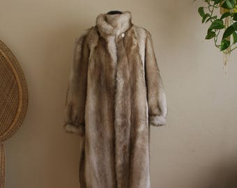 Vintage faux fur floor length coat