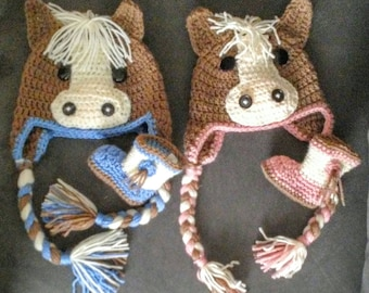 Little Horse Hat and Booties to match. Made to order in pink or blue or any color you would like.