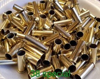 Lot of 50.  38 Special Yellow Brass Shell Casings Spent Bullets for Crafting Jewelry Making Reclaimed Recycled.. Clean Brass