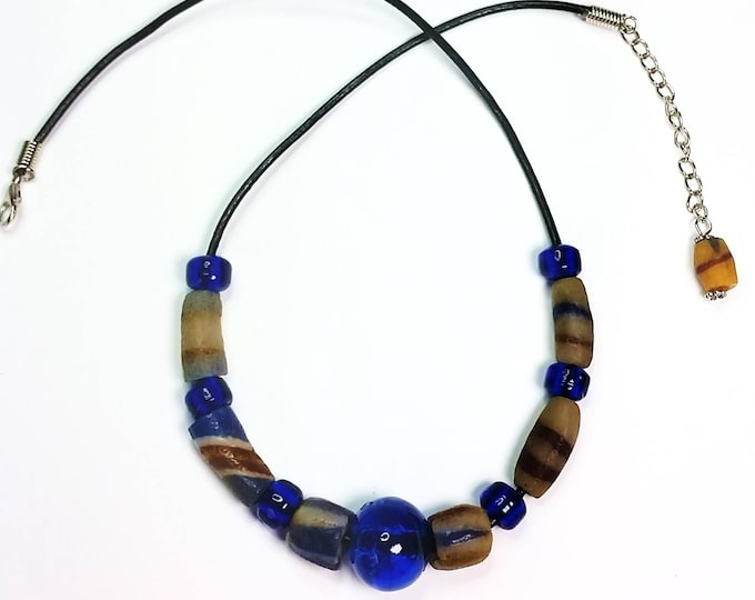 Trade Bead Necklace No. 8 with Cobalt Blue Glass Beads on Black Leather Cord