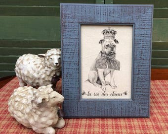 Staffordshire Terrier in French Crown, French Country Decor, Farmhouse Decor, Distressed Shabby Chic Frame, Pit Bull Printed on Linen