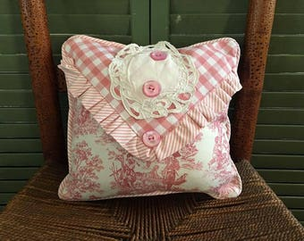 Pink Waverly Toile, Pink Ticking Pillow with Waverly Pink ticking backing, Vintage Buttons and Vintage Lace, So PaRiS ApArTmEnT