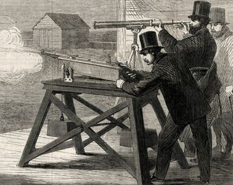 Antique Print of Rifle Testing - Small-bore Rifles -  Victorian Newspaper Illustration and Article dated March 8, 1862