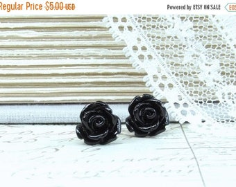 Black Rose Earrings Rose Stud Earrings Black Rose Studs Hypoallergenic Black Flower Earrings Goth Studs