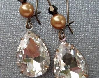 SALE 20% Off Vintage Wedding Bridal Jewelry Gifts Old Hollywood Sparkle Crystal Rhinestone Pearl Drop Earrings BELLE Crystal