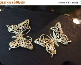 SUMMER CLEARANCE Raw Brass Monarch Butterfly Filigree - 45mm x 37mm - 8 pcs