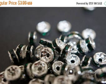 SUMMER SALE Silver Plated Emerald Green Rhinestone Rondelle Spacers - 5mm - 20 pcs