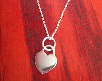 Silver heart locket necklace with silver chain